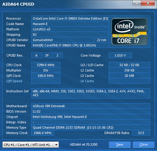 AsRock X99 Extreme6 CpuID
