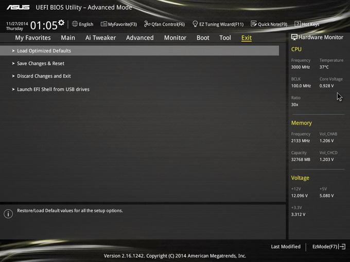 ASUS X99 Deluxe bios