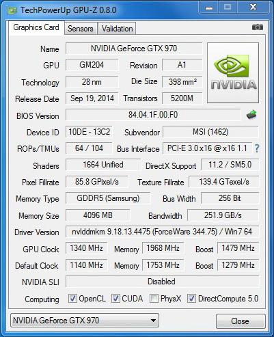 MSI GTX970 Gaming Gpuz OC