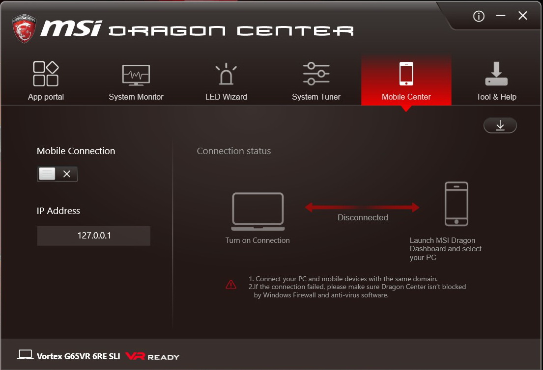 MSI Vortex G65VR 6RE Dragon Center