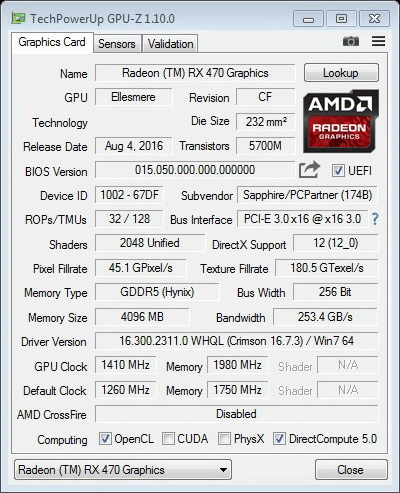 SAPPHIRE Radeon RX470 4GB NITRO GPUZ OC