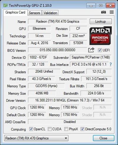 SAPPHIRE Radeon RX470 4GB NITRO GPUz