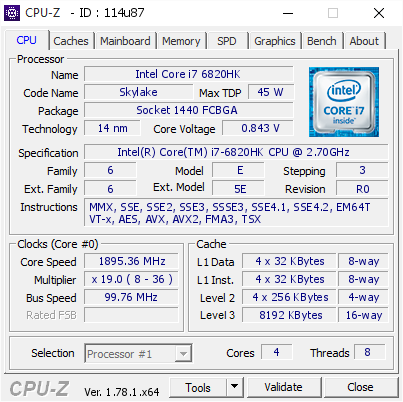 MSI GT62VR 6RE Core i7 6820HK Cpuz
