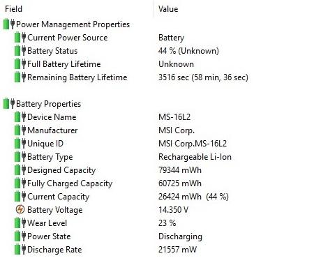 MSI GT62VR Battery