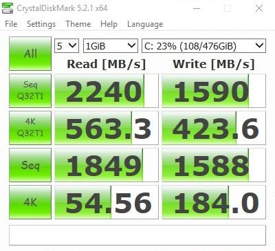 MSI GT62VR NVMe Cristal Disk