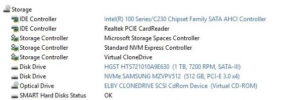 MSI GT62VR Storage