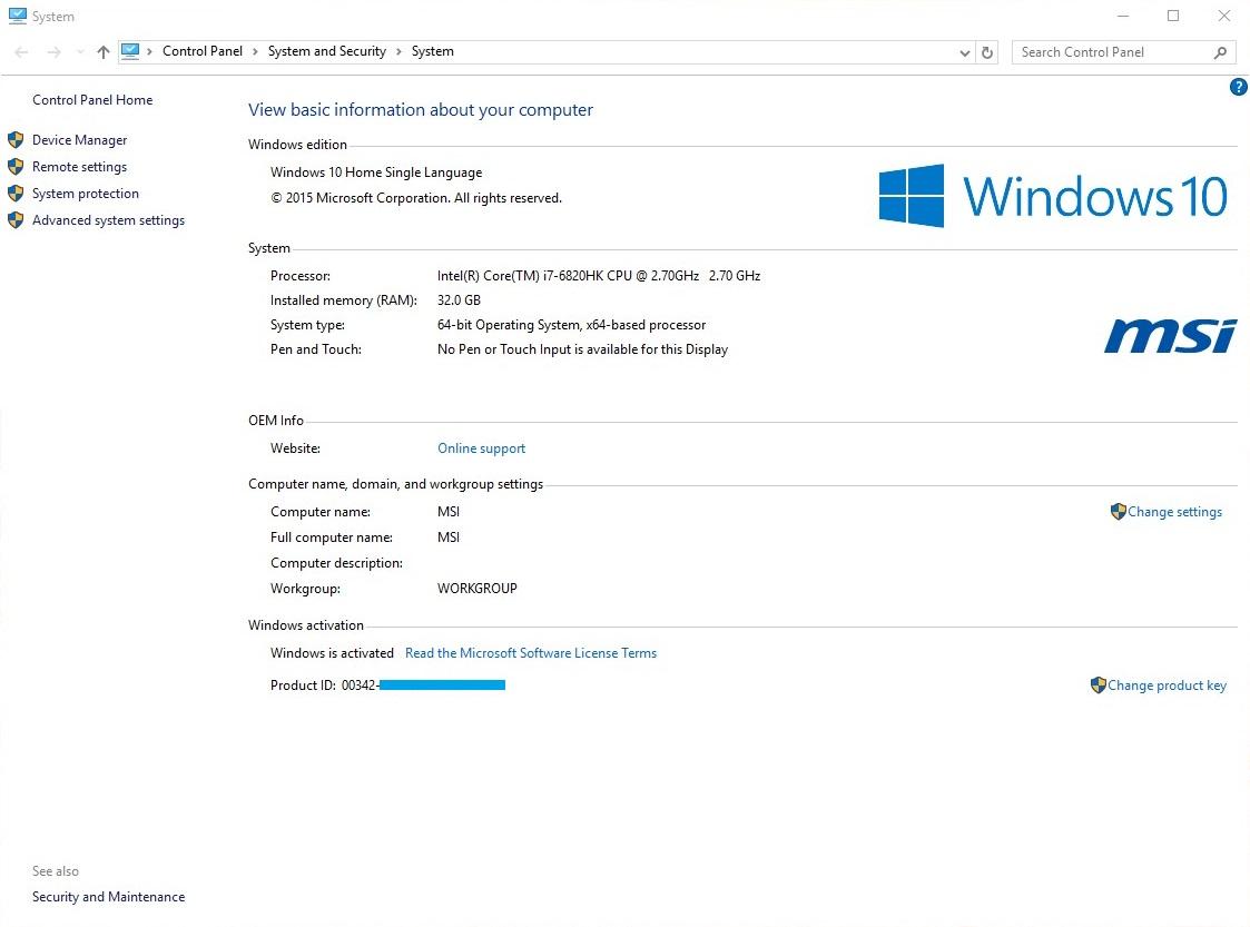 MSI GT62VR Windows 10